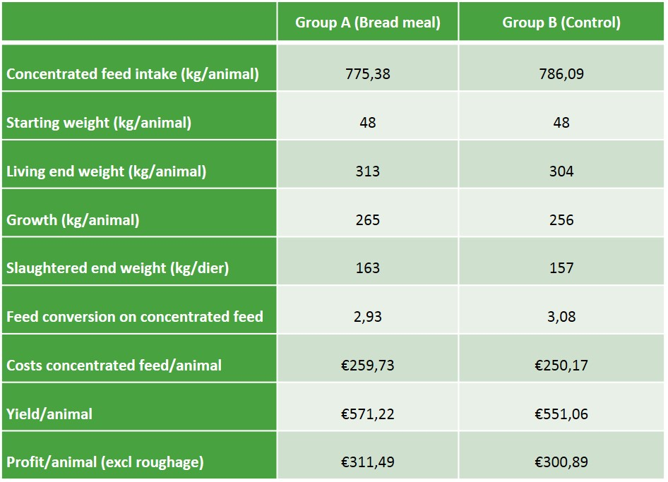 Results Bread meal calves research